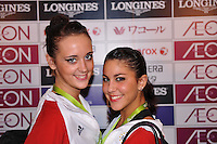 "September 10, 2009; Mie, Japan;  (L-R) Ava Gehringer and Julie Zetlin of USA pose for portrait in the ""mixed zone"" at 2009 World Championships Mie. Photo by Tom Theobald."