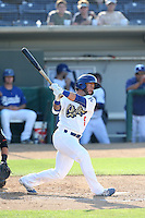 Rob Garvey (6) of the Rancho Cucamonga Quakes bats during a game against the Bakersfield Blaze at LoanMart Field on June 1, 2015 in Rancho Cucamonga, California. Rancho Cucamonga defeated Bakersfield, 5-2. (Larry Goren/Four Seam Images)