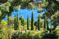 Espagne, Catalogne, Costa Brava, Blanes, Jardin botanique Marimurtra, ici chemin entre cyprés d'Italie, pins et végétation méditerranéenne  // Spain, Catalonia, Costa Brava, Blanes, Marimurtra Botanical Garden