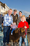Enjoying the Castleisland Horse fair on Monday were l-r  Eoin Knightly, Conor Thomas Knightly, John Knightly Senior, Innis Knightly, all from Annascaul and Jack O'Leary, Listowel with( Buster)  the pony.