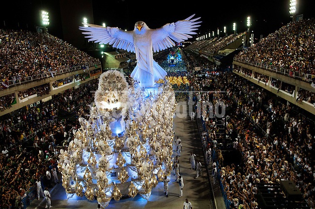 Members of Portela samba school performs on a float during a carnival parade at the Sambadrome, Rio de Janeiro, Brazil, February 16, 2015.