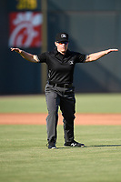 Umpire Jennifer Pawol works a game between the Columbia Fireflies and Augusta GreenJackets on Saturday, June 1, 2019, at Segra Park in Columbia, South Carolina. Columbia won, 3-2. (Tom Priddy/Four Seam Images)