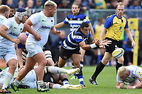 Kahn Fotuali'i of Bath Rugby passes the ball. Aviva Premiership match, between Bath Rugby and Saracens on September 9, 2017 at the Recreation Ground in Bath, England. Photo by: Patrick Khachfe / Onside Images