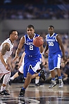 07 April 2014: Aaron Harrison (2) of the University of Kentucky gets a steal against the University of Connecticut during the 2014 NCAA Men's DI Basketball Final Four Championship at AT&T Stadium in Arlington, TX. Connecticut defeated Kentucky 60-54 to win the national title. Peter Lockley/NCAA Photos