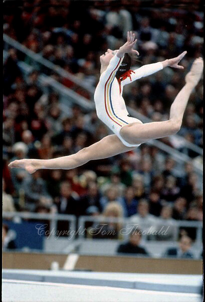 November 23, 1981; Moscow, Soviet Union; Artistic gymnast Rodica Dunca of Romania performs split leap on floor exercise at 1981 World Championships in Moscow..(©) Copyright 1981 Tom Theobald