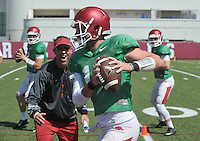 NWA Democrat-Gazette/MICHAEL WOODS &bull; @NWAMICHAELW<br /> University of Arkansas quarterback Brandon Allen (10) runs drills during practice Thursday, August 20, 2015 in Fayetteville.