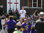 Kingston Mayor Steve Noble, speaking to those attending the 11th Annual Mid-town Make a Difference Day Celebration on Franklin Street, in Kingston, NY on Saturday, June  18, 2016. Photo by Jim Peppler. Copyright Jim Peppler 2016.