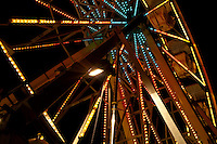 Close up of the ferris wheel at night at the carnival in Austin, Texas