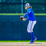 6 March 2019: Toronto Blue Jays top prospect infielder Bo Bichette warms up prior to a Spring Training game against the Philadelphia Phillies at Dunedin Stadium in Dunedin, Florida. The Blue Jays defeated the Phillies 9-7 in Grapefruit League play. Mandatory Credit: Ed Wolfstein Photo *** RAW (NEF) Image File Available ***