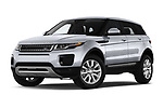 Stock pictures of low aggressive front three quarter view of 2019 Land Rover Range-Rover-Evoque SE 5 Door SUV Low Aggressive