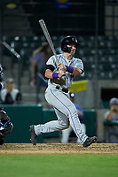 Evan Skoug (19) of the Winston-Salem Dash follows through on his swing against the Myrtle Beach Pelicans at TicketReturn.com Field on May 16, 2019 in Myrtle Beach, South Carolina. The Dash defeated the Pelicans 6-0. (Brian Westerholt/Four Seam Images)