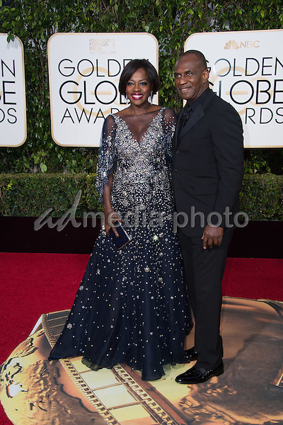 Viola Davis, presenter, and Julius Tennon arrive at the 73rd Annual Golden Globe Awards at the Beverly Hilton in Beverly Hills, CA on Sunday, January 10, 2016. Photo Credit: HFPA/AdMedia