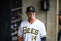 Ryan LaMarre (14) of the Salt Lake Bees before the game against the Sacramento River Cats in Pacific Coast League action at Smith's Ballpark on April 11, 2017 in Salt Lake City, Utah. The River Cats defeated the Bees 8-7. (Stephen Smith/Four Seam Images)
