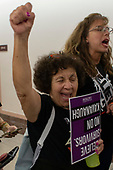 Demonstrators chant outside the office of Senator Susan Collins, Republican of Maine, on Capitol Hill in Washington, DC on September 26, 2018. The demonstrators are protesting against the nomination of Judge Brett Kavanaugh to be a Supreme Court Associate Justice. Credit: Alex Edelman / CNP