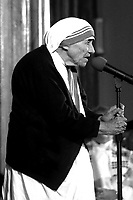 Mother Teresa, Roman Catholic founder of the Missionaries of Charity and 1979 Nobel Peace Prize winner, speaking at Our Lady Help of Christians  Roman Catholic Church Newton MA June 15, 1995