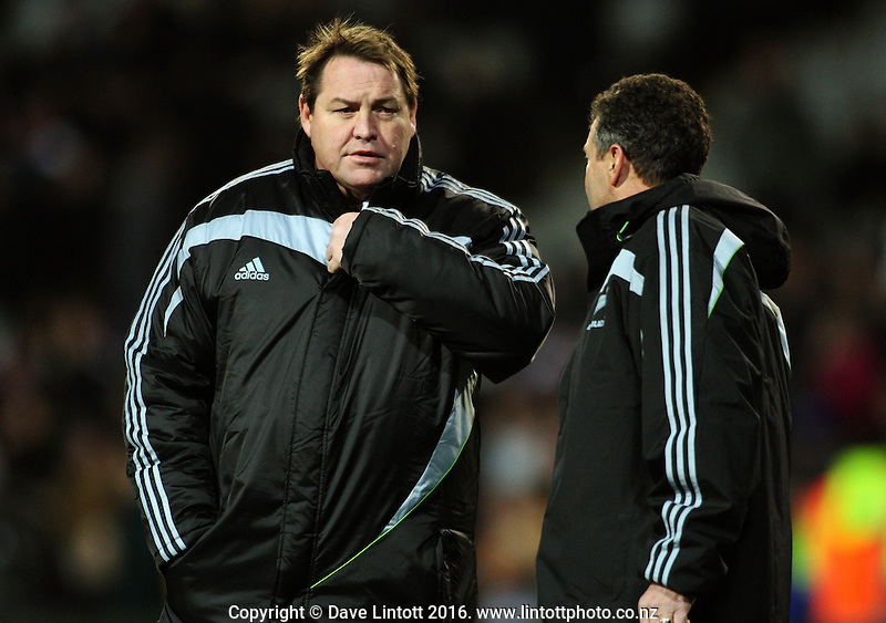 All Blacks coaches Steve Hansen and Wayne Smith. Tri Nations - All Blacks v Australia at Eden Park, Auckland, New Zealand. Saturday 18 July 2009. Photo: Dave Lintott / lintottphoto.co.nz