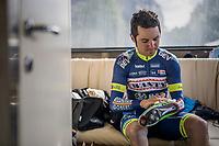 Jérôme Baugnies (BEL/Wanty-Groupe Gobert) shining his shoes pre-race<br /> <br /> 103rd Liège-Bastogne-Liège 2017 (1.UWT)<br /> One Day Race: Liège › Ans (258km)