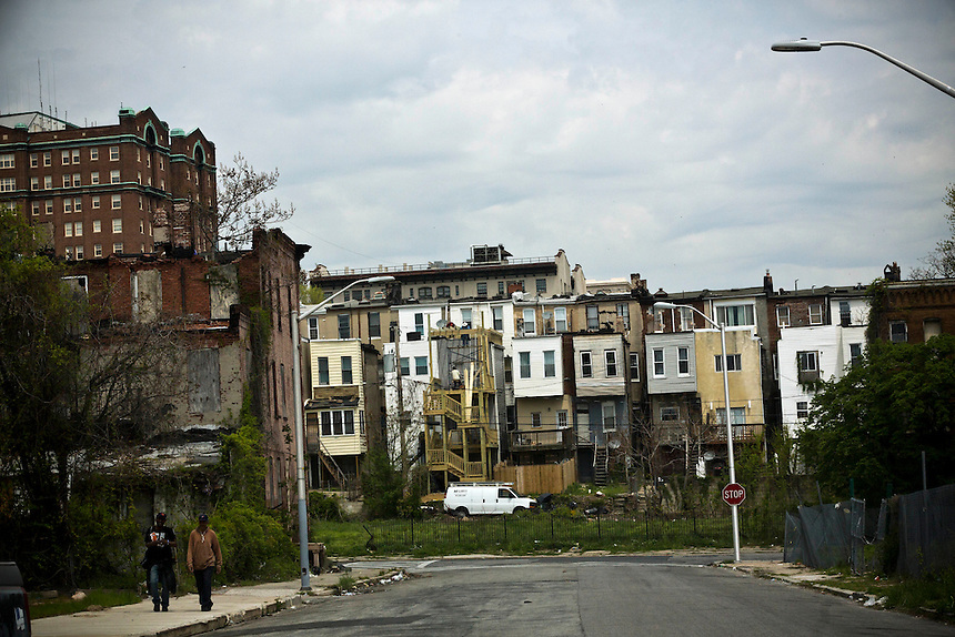 Row Houses in West Baltimore near the epicenter of the violence that has erupted in recent days. , April 30, 2015. to go with Nick O'Malley story.  photo by Trevor Collens