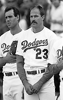 Kirk Gibson of the Los Angeles Dodgers during a 1989 season game at Dodger  Stadium in Los Angeles,California.(Larry Goren/Four Seam Images)