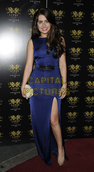 Rachel Shenton<br /> The Lipsy VIP Fashion Awards 2013, DSTRKT, Rupert St., London, England.<br /> May 29th, 2013<br /> full length purple dress slit split white clutch bag<br /> CAP/CAN<br /> &copy;Can Nguyen/Capital Pictures