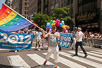 Pres. Barack Obama supporters in the 43rd annual Lesbian, Gay, Bisexual and Transgender Pride Parade on Fifth Avenue in New York on Sunday, June 24, 2012. The parade took place on the one year anniversary of the legalization of gay marriage in New York.  (© Richard B. Levine)