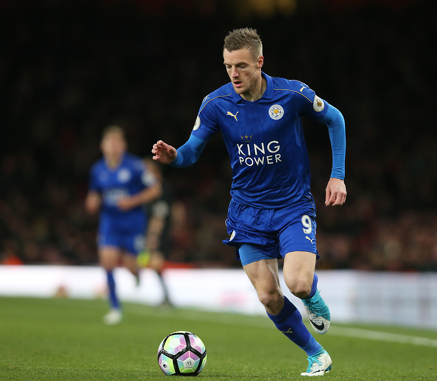 Leicester City's Jamie Vardy<br /> <br /> Photographer Stephen White/CameraSport<br /> <br /> The Premier League - Arsenal v Leicester City - Wednesday 26th April 2017 - Emirates Stadium - London<br /> <br /> World Copyright &copy; 2017 CameraSport. All rights reserved. 43 Linden Ave. Countesthorpe. Leicester. England. LE8 5PG - Tel: +44 (0) 116 277 4147 - admin@camerasport.com - www.camerasport.com