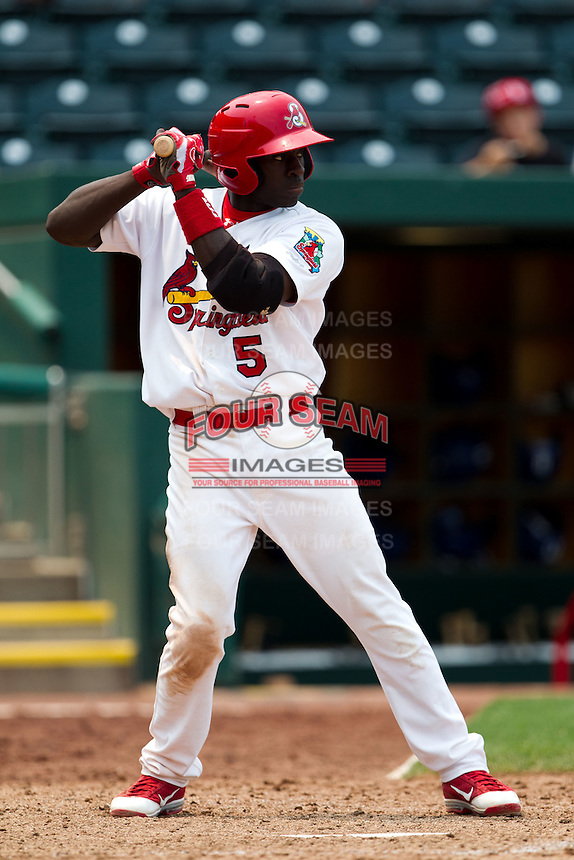 Jermaine Curtis (5) of the Springfield Cardinals at bat during a game against the Tulsa Drillers at Hammons Field on June 27, 2011 in Springfield, Missouri. (David Welker / Four Seam Images)