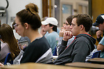 Students watch demonstrations on the effects of friction on falling objects in a Physical Science wintersession class. Photo by Robert Jordan/Ole Miss Communications
