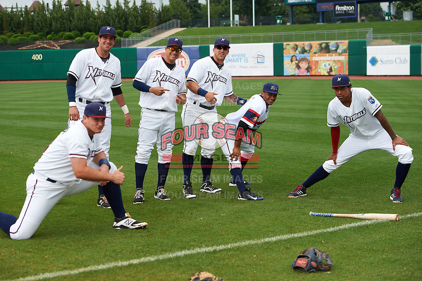 NW Arkansas Naturals (L-R) Balbino Fuenmayor, Alex Liddi, Anderson De La Rosa, Mike Bianucci, Angel Franco (wearing the wrong jersey for the game) and Raul Mondesi before a game against the San Antonio Missions on May 30, 2015 at Arvest Ballpark in Springdale, Arkansas.  San Antonio defeated NW Arkansas 5-1.  (Mike Janes/Four Seam Images)