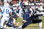 Navy Midshipmen kicker Nick Sloan (6) in action during the Armed Forces Bowl game between the Middle Tennessee Blue Raiders and the Navy Midshipmen at the Amon G. Carter Stadium in Fort Worth, Texas. Navy defeated Middle Tennessee 24 to 6.