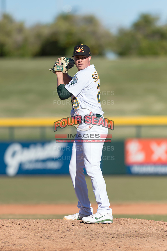 Mesa Solar Sox relief pitcher Sam Sheehan (29), of the Oakland Athletics organization, gets ready to deliver a pitch during an Arizona Fall League game against the Surprise Saguaros at Sloan Park on November 15, 2018 in Mesa, Arizona. Mesa defeated Surprise 11-10. (Zachary Lucy/Four Seam Images)