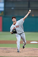 Andrew Suarez (32) of the San Jose Giants pitches during a game against the Inland Empire 66ers at San Manuel Stadium on August 26, 2015 in San Bernardino, California. San Jose defeated Inland Empire, 8-1. (Larry Goren/Four Seam Images)