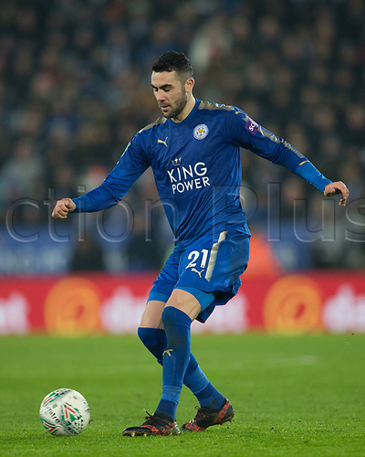 19th December 2017, King Power Stadium, Leicester, England; Carabao Cup quarter-final, Leicester City versus Manchester City; Vicente Iborra of Leicester City passes the ball