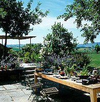 A wooden table is laid for a summer lunch on the terrace