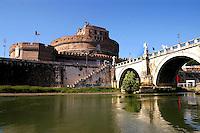 Roma Luglio 2005.Castel S.Angelo e  Ponte S.Angelo.The Castel Sant'Angelo, a mausoleum built by Roman emperor Hadrian and Ponte Sant'Angelo (designed by Bernini).