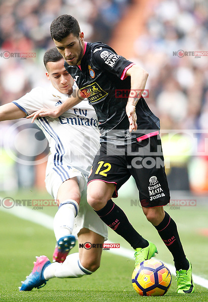 Real Madrid's Lucas Vazquez (l) and RCD Espanyol's Aaron Martin during La Liga match. February 18,2017. (ALTERPHOTOS/Acero) /Nortephoto.com