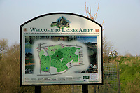 Sign for Lesnes Abbey, Abbeywood, London, UK