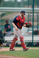 GCL Red Sox catcher Jacob Herbert (12) after a Gulf Coast League game against the GCL Pirates on August 1, 2019 at Pirate City in Bradenton, Florida.  GCL Red Sox defeated the GCL Pirates 11-3.  (Mike Janes/Four Seam Images)
