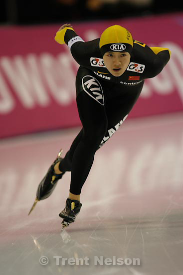 Trent Nelson  |  The Salt Lake Tribune.China's Beixing Wang took the silver medal in the Ladies 1000 meter at the Essent ISU World Cup at the Utah Olympic Oval in Kearns, Sunday, December 13, 2009.
