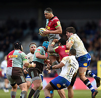Ben Glynn of Harlequins claims the ball in the air. Aviva Premiership match, between Harlequins and Bath Rugby on March 2, 2018 at the Twickenham Stoop in London, England. Photo by: Patrick Khachfe / Onside Images