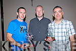 Clounmacon Players of the Year: Clounmacon GAA Club chairman Brian Carty presenting trophies to Senior playerr of the year to Kieran O'Mahony and Junior player of the year John O'Carroll at a function held at the Kingdom Bar, Listowel on Saturday night last.