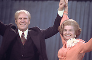 Gerald Ford with wife Betty  attend the 1976 Republican Convention - A break in at the Democratic National Committee headquarters at the Watergate complex on June 17, 1972 results in one of the biggest political scandals the US government has ever seen.  Effects of the scandal ultimately led to the resignation of  President Richard Nixon, on August 9, 1974, the first and only resignation of any U.S. President.