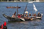 Canoe Journey, Paddle to Nisqually, 2016, Northwest tribal canoes Heilstuk Nation, Bella Bella tribe arriving in Olympia, Washington, 7-30-2016, Salish Sea, Puget Sound, Washington State, USA,