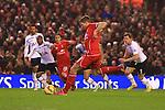 Steven Gerrard of Liverpool scores his sides second goal - Liverpool vs. Tottenham Hotspurs - Barclay's Premier League - Anfield - Liverpool - 10/02/2015 Pic Philip Oldham/Sportimage