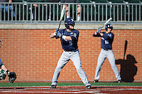 Nate Soria (5) of the Xavier Musketeers at bat against the Charlotte 49ers at Hayes Stadium on March 3, 2017 in Charlotte, North Carolina.  The 49ers defeated the Musketeers 2-1.  (Brian Westerholt/Four Seam Images)
