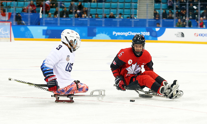 Pyeongchang, Korea, 18/3/2018-Rob Armstrong compete in the gold medal ice game against the USA during the 2018 Paralympic Games. Photo: Scott Grant/Canadian Paralympic Committee.