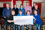 Cheque Presentation: Members of the Liselton Wren Boys making a cheque presentation of €1360.00 the proceeds of the Wren to the Listowel Palliative Unit at the Thatch Bar, Liselton on Friday night last. Front : Eileen LKelly, Eileen Sheehy, Sr. Margaret & Joanne O'Riordan O'Connor. Back : Sheamus Kelly, Tom Enright, Jenny Tarrant, John Nolan,  Danny Carroll & John Hegarty.