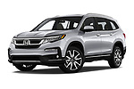 Stock pictures of low aggressive front three quarter view of a 2020 Honda Pilot Touring 5 Door SUV