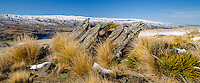 On top of Old Man Range from Waikaia Bush Road, Central Otago, New Zealand - stock  photo, canvas, fine art print