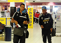 Wednesday 07 August 2013<br /> Pictured L-R: Goalkeeper Michel Vorm and Jonathan de Guzman at Cardiff Airport.<br /> Re: Swansea City FC travelling to Sweden for their Europa League 3rd Qualifying Round, Second Leg game against Malmo.